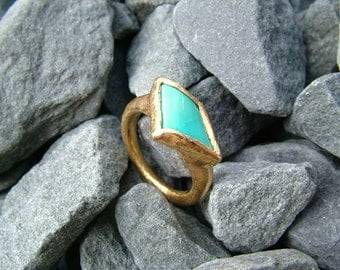 22k gold Turquoise ring...Hammered texture.