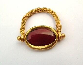 Carnelian/Cornelian 22k gold ring