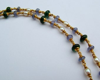 22k gold, emerald, tanzanite, fresh water pearl necklace...