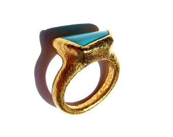 22k gold turquoise ring...