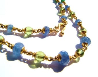 22K solid gold necklace, Peridot, Amethyst, Ceylon sapphire, Emerald.