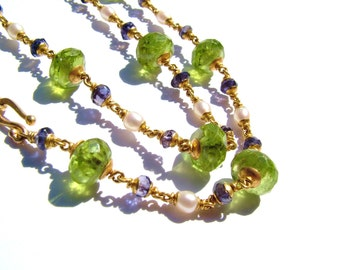 22k solid gold necklace, Peridot, Iolite(water sapphire), fresh water pearls.