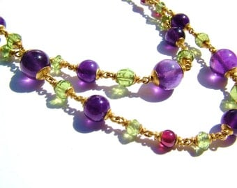 22k solid gold necklace, Peridot, Garnet, Amethyst.