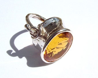 Sterling Silver Original design and hand fabricated Archaic style Citrine Quartz ring by MonBedo.
