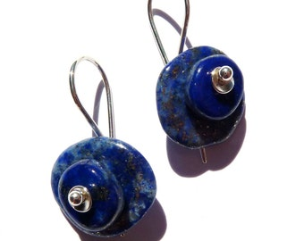 Lapis lazuli, sterling silver earrings.