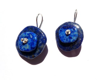Lapis lazuli, sterling silver earrings. .................n9