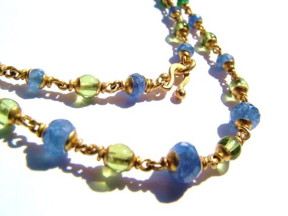 22K solid gold necklace, Peridot, Amethyst, Ceylon sapphire, Emerald.