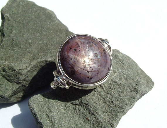 Star Ruby/Sapphire archaic inspired sterling silver ring originally designed and handmade by MonBedo
