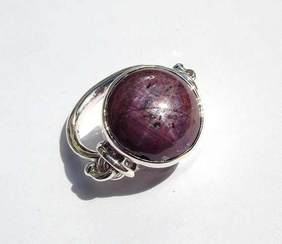 Star Ruby/Sapphire archaic inspired sterling silver ring original design and handmade by MonBedo.