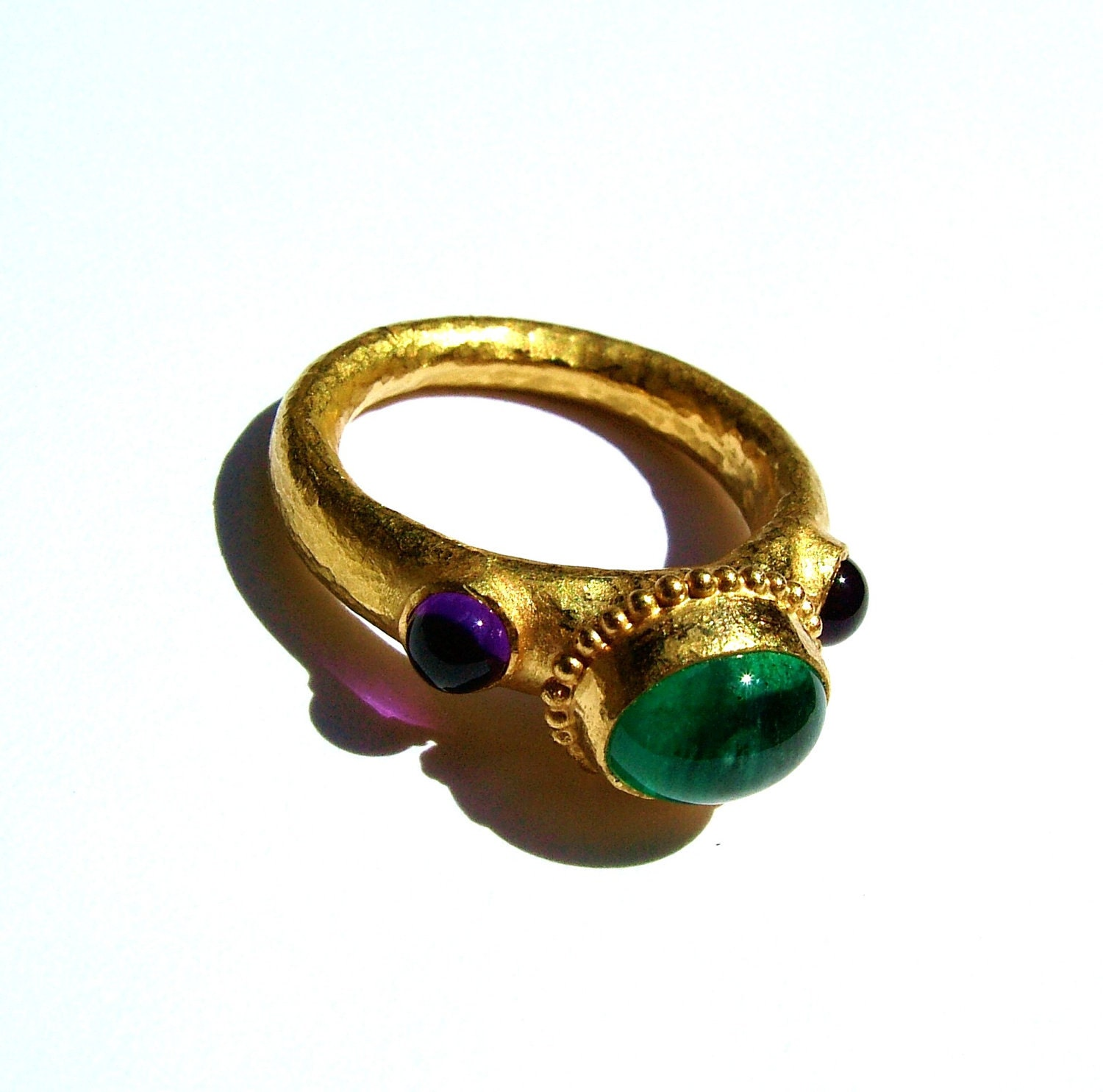 emerald amethyst 22k gold ring three ring by monbedo