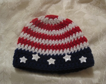 Stars N Stripes Patriotic baby hat for all red white and blue occasions.