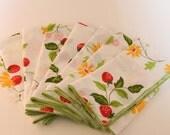 Vintage Strawberry Fields White Cloth Napkins - Set of 8