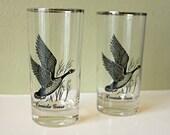 Vintage Silver Rimmed Canada Goose Bar Glasses - Set of Two - Federal Glassware