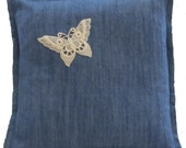 SALE --- Denim Butterfly Pillow Cover