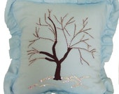 Hand Embroidered Tree Pillow in Blue with Ruffle
