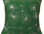 SALE! -- Green Embroidered Flower Pillow Cover