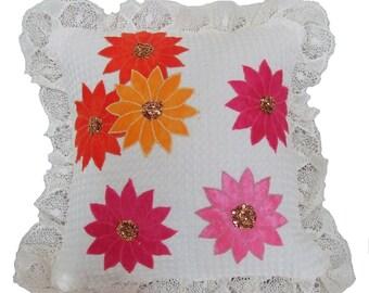 Appliqued Flower Pillow