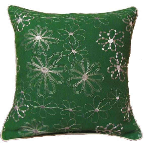 Green Embroidered Flower Pillow