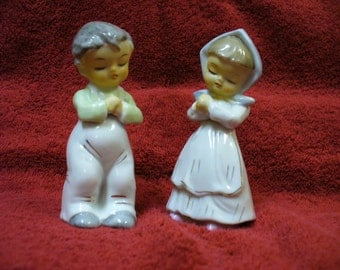 Adorable Children Praying Boy and Girl Made in Japan Ceramic 1960s Religious Collectible