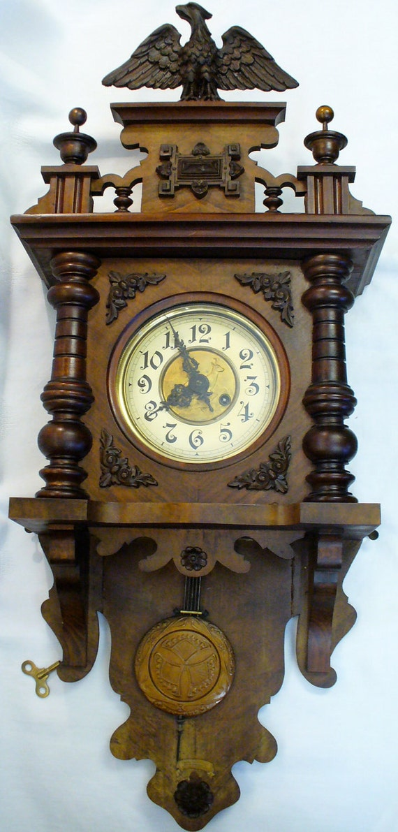 Large Antique Black Forest German Freeswinger Berlinger Open Well Chiming Wall Clock