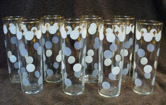 Vintage 1960s Mid Century Decorative Cocktail Highball Glasses Set of 8 White Gray Polka Dot Drinking Glasses Gold Trim