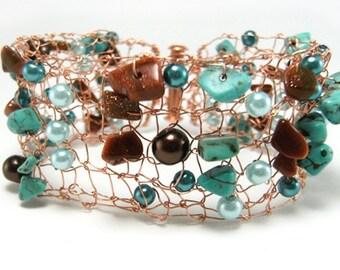 Copper Bracelet - Copper Cuff - Knit Copper Cuff - Knit Metal Cuff - Knit Metal Jewelry - Turquoise Cuff - Mesh Metal Cuff