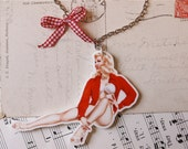 1950s Pin Up Girl Necklace. Acrylic Print of Pin Up on a Silver Tone Chain. Kitsch. Retro.