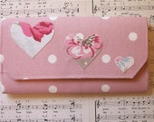 Embroidered Heart, Polka Dot Pink Purse. Space for 10 Cards. Zipped Coin Compartment.