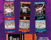 Printable MLB(Your Favorite Team) Ticket Style Invitations & Free Matching Thank You Card-DIY