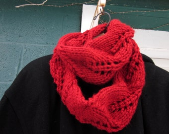 Vegan Cowl - Hearts Aflame Red Women's Long Cowl