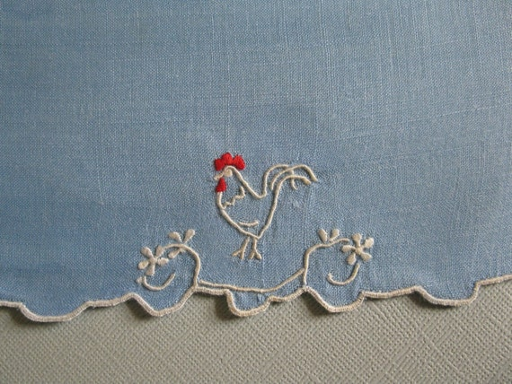 Vintage bridge napkins   blue with embroidry white rooster with red comb..