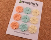 Buttons Vintage Flower Style - Just Peachy (peach, mint & vanilla)