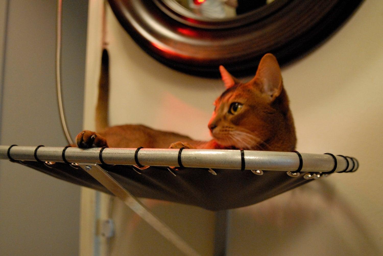 wall mounted handmade steel cat hammock. Black Bedroom Furniture Sets. Home Design Ideas