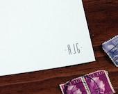 Francis Monogram Stationery Set - Blank Flat Note Cards - Set of 16