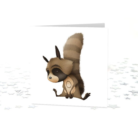 Raymond Raccoon Curious Critter greetings card (Blank)