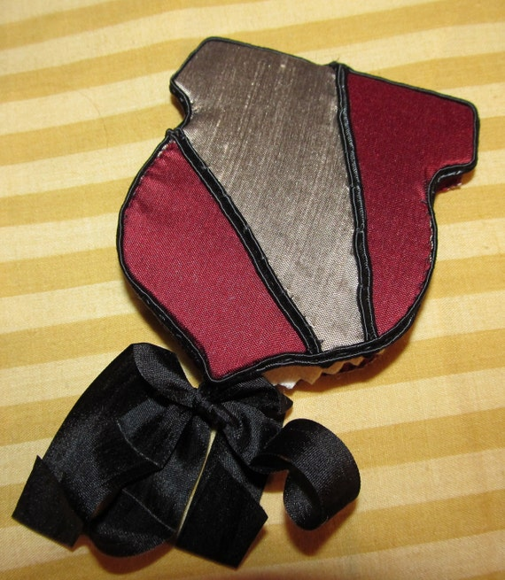 Burgandy and Silver Shield  Needle-book