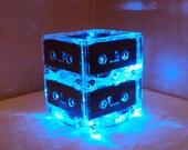 BLUE Repurposed MixTape Night Light Lamp Centerpiece