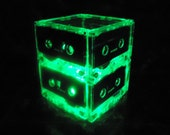 Repurposed Green MixTape Night Light Lamp Centerpiece Upcycled Retro Green light Recycled