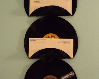 Rock n Roll Music Lover Vinyl Record Mail Holders Office Mail Organizer Set of 3