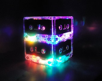 80s Party Decoration Bright Colorfol Lighted Cassette Tape Centerpiece