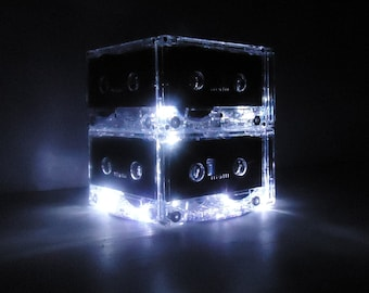 Music Lover Cassette Tape Night Light Lamp Centerpiece Upcycled Retro Ecofriendly