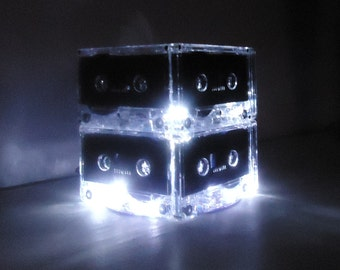 Luminous White and Black Mixtape Cassette Tape Night Light Centerpiece Lamp
