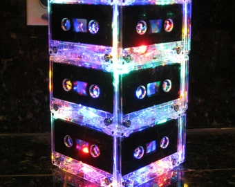 Music Art MixTape Night Light Lamp Centerpiece Rainbow colors Music Lover Cassette Tape Lamp Mood Light