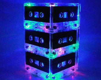 Rainbow color Repurposed Upcycled Mixtape Cassette Tape Night Light Mood Lamp 80s 90s Party Centerpiece