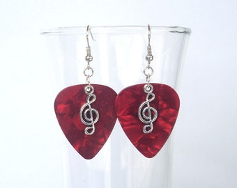 Any color Treble Clef Guitar Pick Earrings