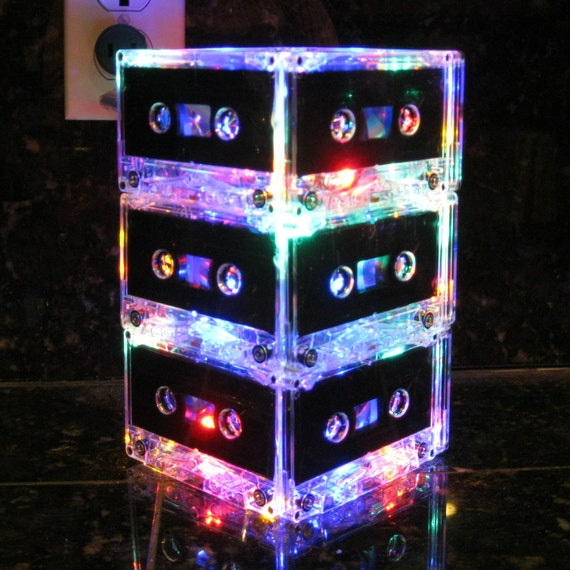 Music Art MixTape Night Light Lamp Centerpiece Rainbow colors Music Lover Cassette Tape Lamp Mood Light