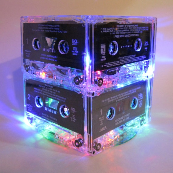 Retro 80s and 90s MixTape Night Light Lamp Cassette Tape Mood Light Centerpiece