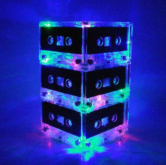 Rainbow Colors Mix Tape Cassette Tape Mixtape Night Light Lamp Centerpiece LED lights Unique lighting