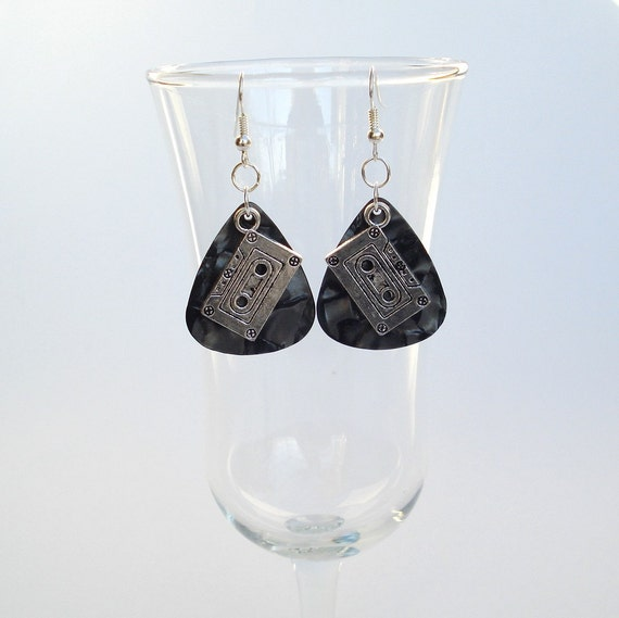 MixTape Earrings with Repurposed  Fender Guitar Pick and Silver FREE SHIPPING