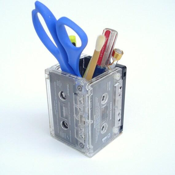 Whitney Houston Music Lover Repurposed Upcycled Cassette Tape Pencil Holder Desk Organizer Supply Holder